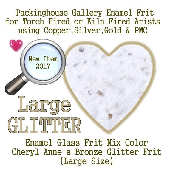 Bronze Enamel Glitter Frit, Large Size Glitter, Enamel Frit, Glass Frit, for Copper, Gold, Silver, Steel,PMC. Packinghouse Gallery
